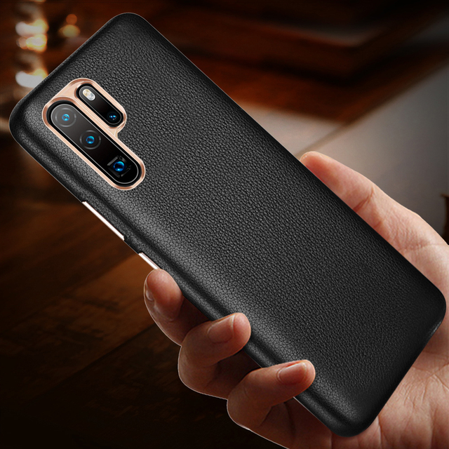 יוקרה עסקים אמיתי עור מקרה עבור Huawei P30 פרו Ultra Slim רך TPU פגוש אנטי שריטה החלקה עמיד עמיד הלם פגז