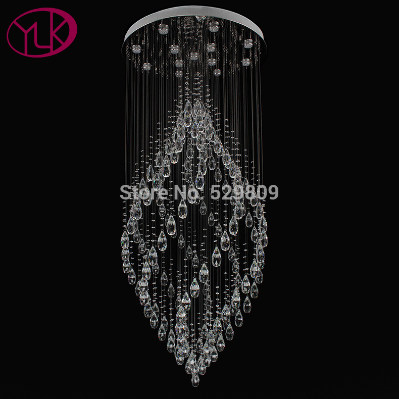 Youlaike Luxury Modern Crystal Chandelier Flush Mount Staircase Hanging Lamp Hiqh Quality Polished Steel Home Lighting Fixtures In Chandeliers From Lights