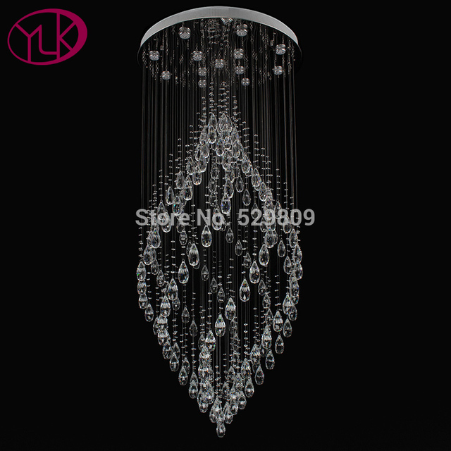Youlaike Luxury Modern Crystal Chandelier Flush Mount Staircase Hanging Lamp Hiqh Quality Polished Steel Home Lighting
