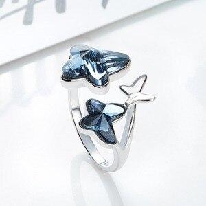 Image 3 - Cde 925 anel esterlina embelezado com cristais borboleta ajustável dedo feminino anel de noivado de casamento jóias