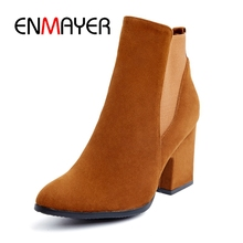 ENMAYER Woman Boots Pointed Toe Flock For Women Fashion Slip-On Ankle Autumn Winter Punk ShoesZYL095