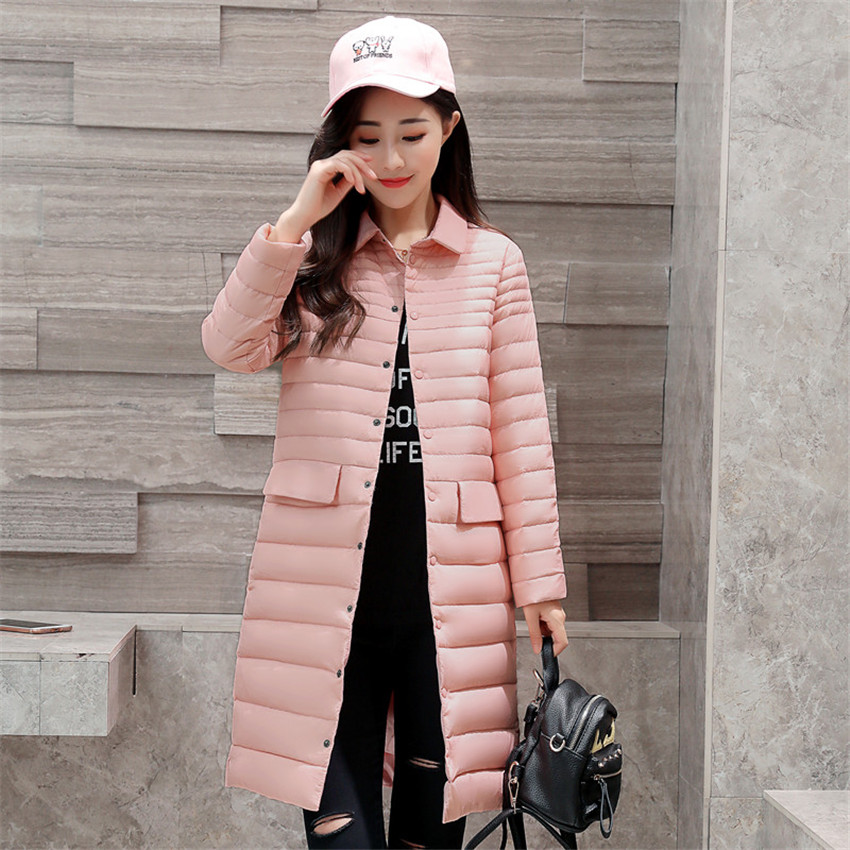 2018 New Autumn Slim Women Midi Long White Duck   Down   Jacket Big Size   Down   Jacket Lady Pink   Down     Coats   Female Winter Jackets W460
