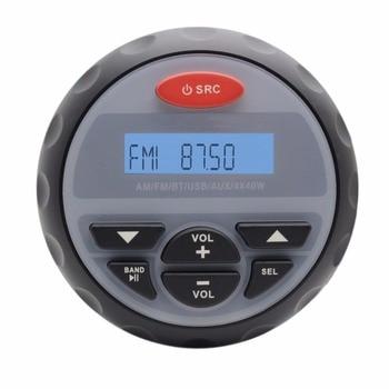 4.5″ Waterproof Marine Bluetooth Stereo Gauge Radio MP3 Player FM AM Audio+4 Inch Marine Boat Outdoor ATV Speakers + Antenna
