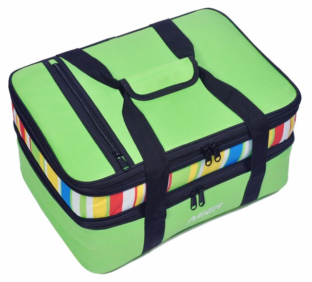 b53971ef54d128 MIER Insulated Double Casserole Carrier Thermal Lunch Tote for Potluck  Parties, Picnic, Beach - Fits 9
