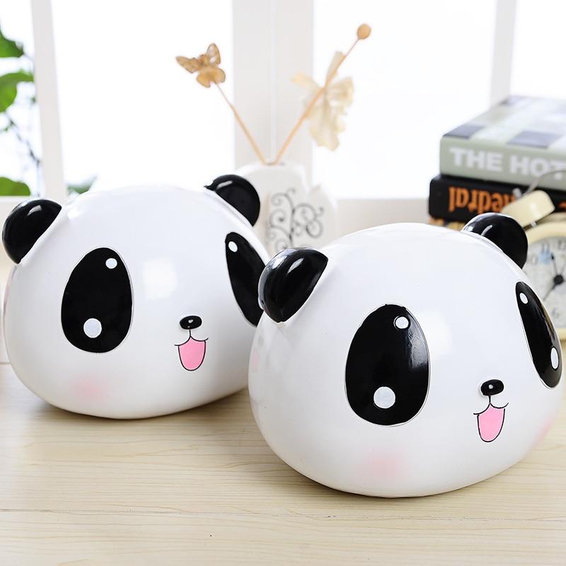 Cartoon Large Panda Head Piggy Bank Fun Gifts Creativity Resin Crafts Ornaments Money Box Household Bedroom Desktops Decorations