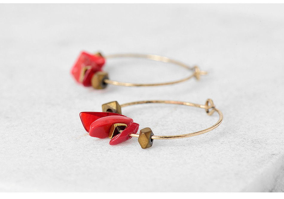 HTB14NG.QFXXXXX7apXXq6xXFXXXJ - Women Trendy Red Natural Stone Pendant Round Hoop Earrings Vintage Antique Gold Circle Hoop Earrings Jewelry