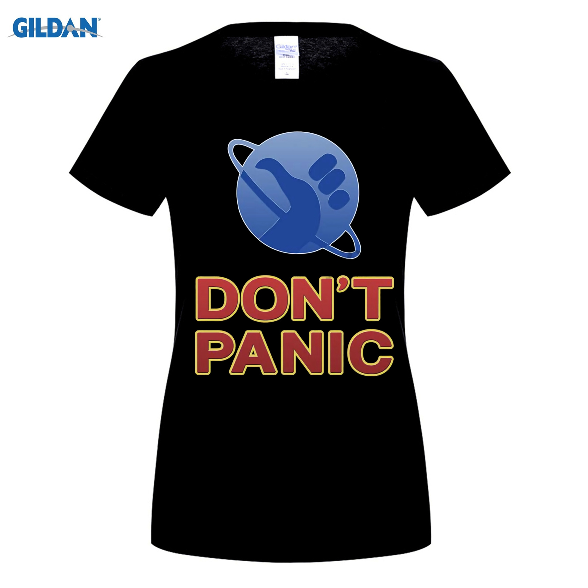 GILDAN 100% cotton O-neck printed T-shirt Hitchhikers Guide To The Galaxy T Shirt Dont Panic for women