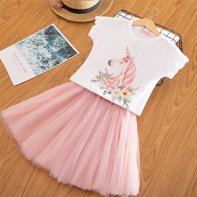 2019 Fashion Unicorn Dress for Girls Children's Clothes Kids Lace Dresses Baby Girls