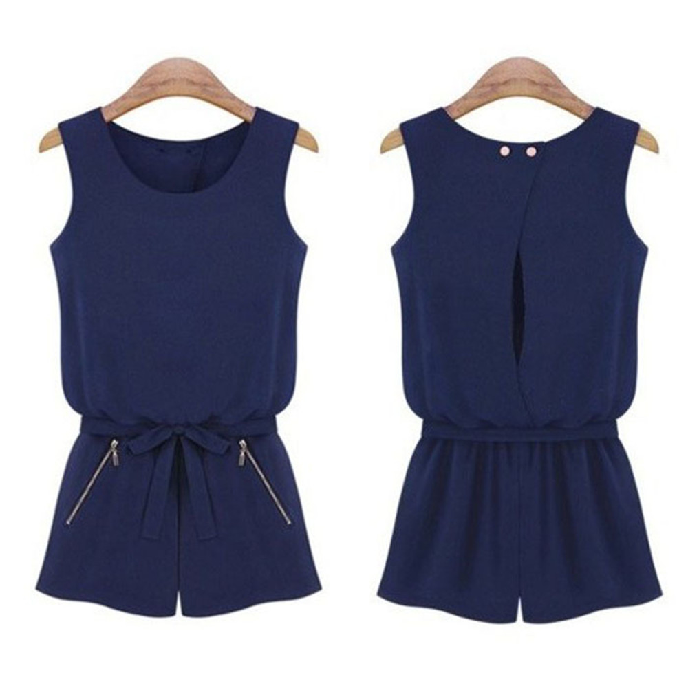 bc90198dab06 Vestido 2019 Sleeveless Bowknot Casual Short Pants Rompers womens jumpsuit  Romper Playsuit Calcetines mujer cheap17