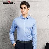 Seven7 Nagelneu und Hohe Qualität Shirts Männer Slim Fit Langarm Mode-Business Formalen Solide herren Social Hemden 113A30080