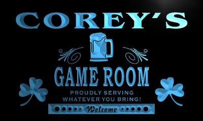 x0182-tm Coreys Shamrock Game Room Bar Custom Personalized Name Neon Sign Wholesale Dropshipping On/Off Switch 7 Colors DHL