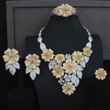 SisCathy 4PCS Luxury Flower Cluster Jewelry Sets For Women Cubic Zircon CZ African Indian Dubai Bridal Wedding