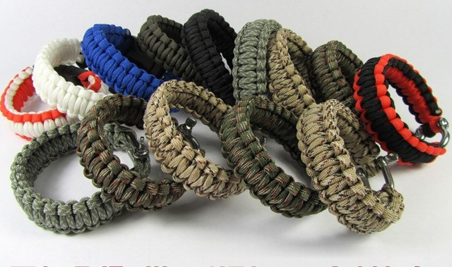 6pcs Lot Mens Paracord Rope Tactical Survival Bracelet Airsoft