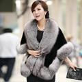 2016 novas mulheres casaco de pele de raposa de luxo elegent manto skinny imitação de pele de vison xale feminino