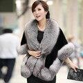 2016 nueva capa de las mujeres abrigo de piel de zorro de lujo elegent delgado imitación de visón mantón de la piel femenina