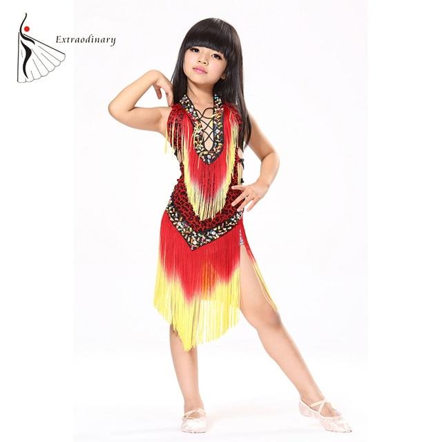 a80a5a45e2 Dzieci Latin sukienka do tańca dla dzieci Samba Danse języku polski Salsa  sukienki kostiumy do tańca