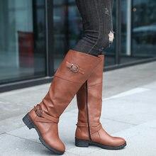 e9b9e28a Piel de Invierno Caliente rodilla botas mujer nieve botas de tacón alto  cremallera lateral Zapatos negro