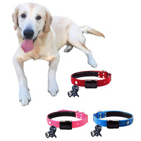 Solar Power LED Dog Lead Collar TPU Cat Collars Kitten Lead Necklace Solar Leather PU Pup