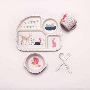 Image 2 - 5pcs/set Bamboo Fiber Children Tableware Set Baby Feeding Plates Dishes Bowl With Cup Fork Spoon Cartoon Animal Kids Dinnerware