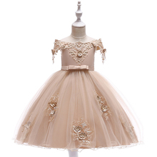 Embroidered Pearl Flower Girls Dress Kids Princess Wedding Prom Designs Ball Gown Teenager Evening Dresses For Girl Clothes baby girl clothes wedding braidal dress children clothing girl lace dresses kids long evening party gown designs for teenager