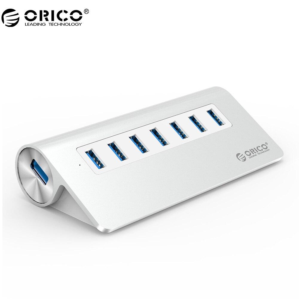 ORICO m3h7 хорошее качество высокое-Скорость Алюминий с VL812 Чипсет 7 Порты и разъёмы USB HUB 3.0 для Mac Book-серебро