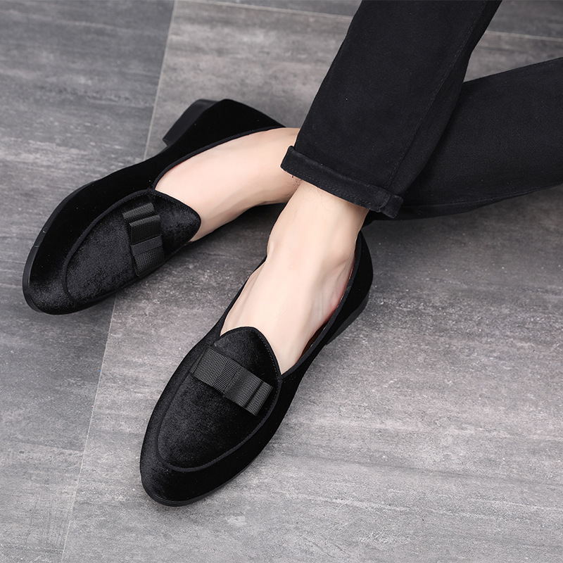 Luxury Men Bowknot Suede Wedding Dress Male Flats Loafers 2018 Newest Gentlemen  Casual Business Leather Shoes 586e65c437db