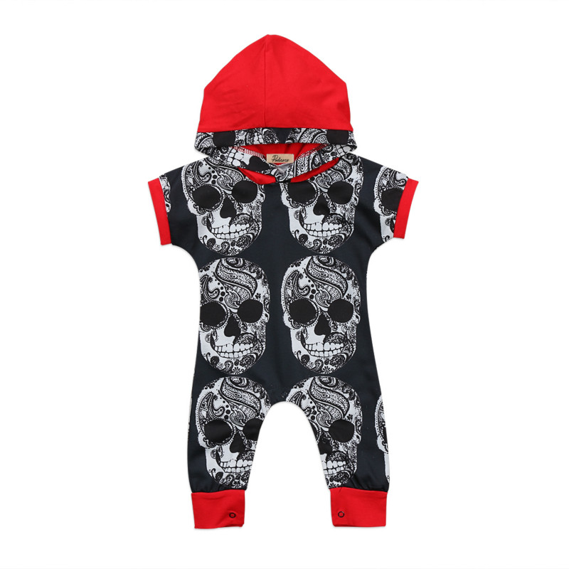 Toddler Infant Baby Boys One-pieces Hooded Halloween Costume Romper Kids Clothing Skull Head Print Cotton Jumpsui Outfit Clothes