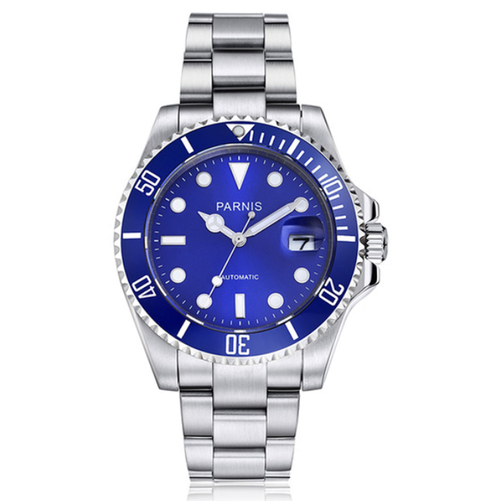 лучшая цена 40mm Parnis Blue Dial Sapphire Glass Automatic Watch Men Black Rubber Strap Stainless Steel Auto Date Sapphire Glass men's Watch