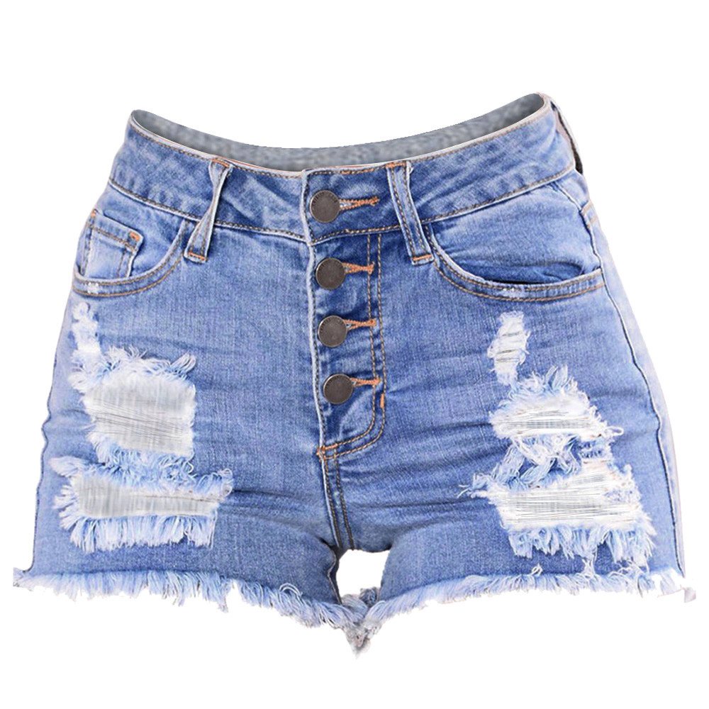 Womail Women Shorts Summer Jeans Slim Washed Ripped Hole Short Mini Jeans Denim Sexy Shorts Casual Denim Color  J23