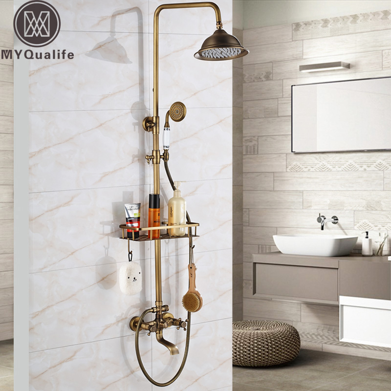 Retro Style Bathroom Shower Set Faucet W/ Commodity Shelf Hooks Antique Brass Bath Shower Mixer Tap Dual Handles Wall Mounted 25cm two hooks household ornament shelf wall commodity shelf wall mounted hook wall bracket