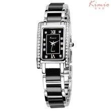 Moda marca kimio vestido de las mujeres reloj pulsera de diamantes de cerámica de acero inoxidable rectángulo de cuarzo relojes relogio feminino