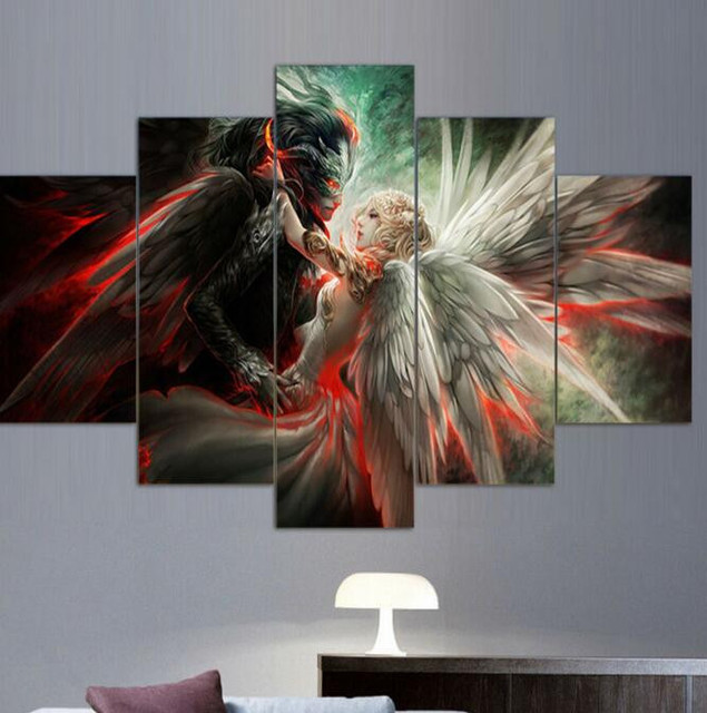 5 Panel Wall Art Modular Pictures Angel And Demon Love Game Poster Top-rated Wall Pictures For Living Room Hot Canvas Painting