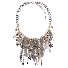 Largo collar de bohemia Collares Declaración de joyería y accesorios de aleación de la vendimia de la borla colgante collares de moda para las mujeres 2016