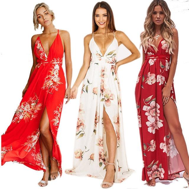 a4d45c5d8265 Novo Vermelho Estampado Floral Praia Vestidos Sexy V Neck Mulheres Maxi  Vestido de Festa de Verão