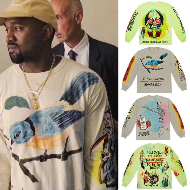 Kanye West ילדי לראות רוחות גרפיטי גברים חולצות צווארון עגול קפוצ 'ון היפ הופ אופנה חדש הגיע Magpie Streetwear סווטשירט