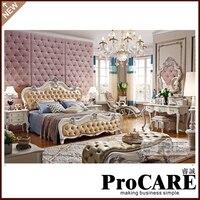Французский стиль Роскошные твердая деревянная мебель для спальни кожа постельный комплект
