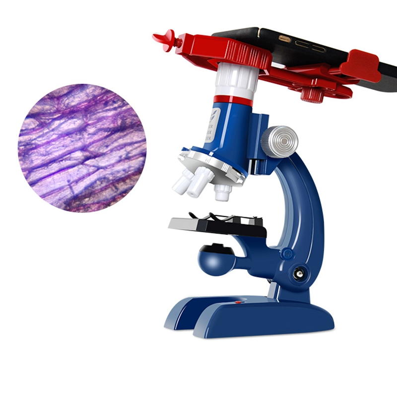 все цены на 100X-1200X Kit Lab LED Home School Educational Toy Biological Microscope with Mobile Phone Adapter Birthday Gift for Kids онлайн