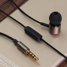 Rehimm com fio fone de ouvido metal esporte música telefone fones de ouvido no fio da orelha-controle 3.5mm drive-by-wire fone de ouvido com microfone