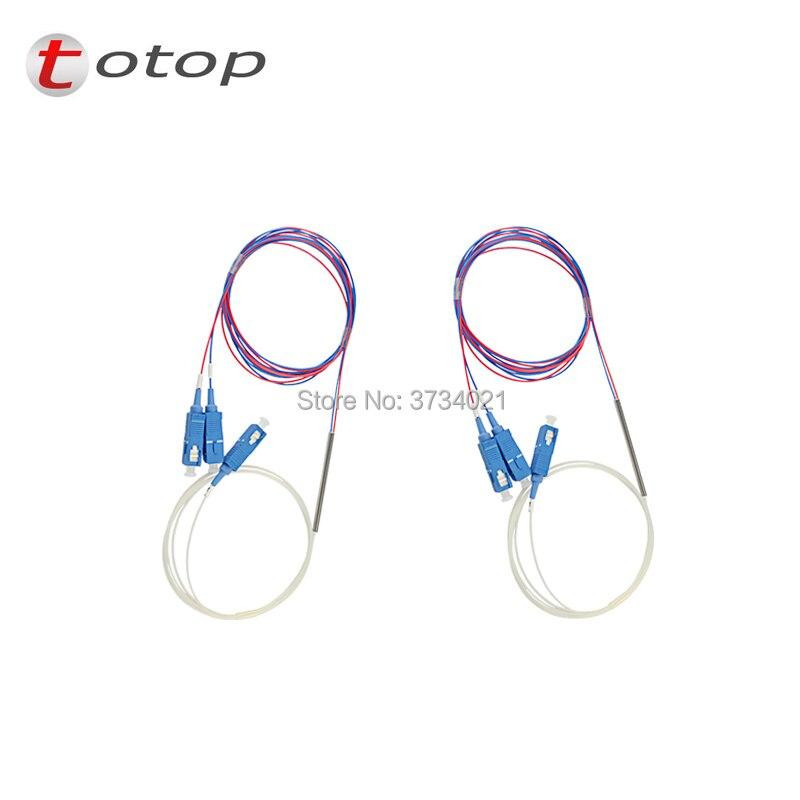 Free Shipping SCUPC 1X2 PLC Singlemode Fiber Optical splitter FTTH PLC Steel tube type SCUPC1x2 PLC optical fiber splitter