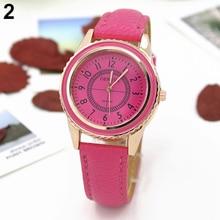 Hot Sales Popular Classic Design Men's Women's Rose Gold Plated Faux Leather Band Quartz Dial Business Wrist Watch NO181 5V5L