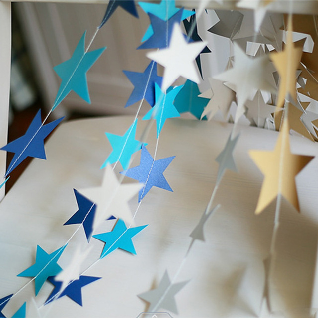 2017 NEW Christmas Tree Decoration Hanging Garlands 4M Star Paper Birthday Wedding Party Decorations