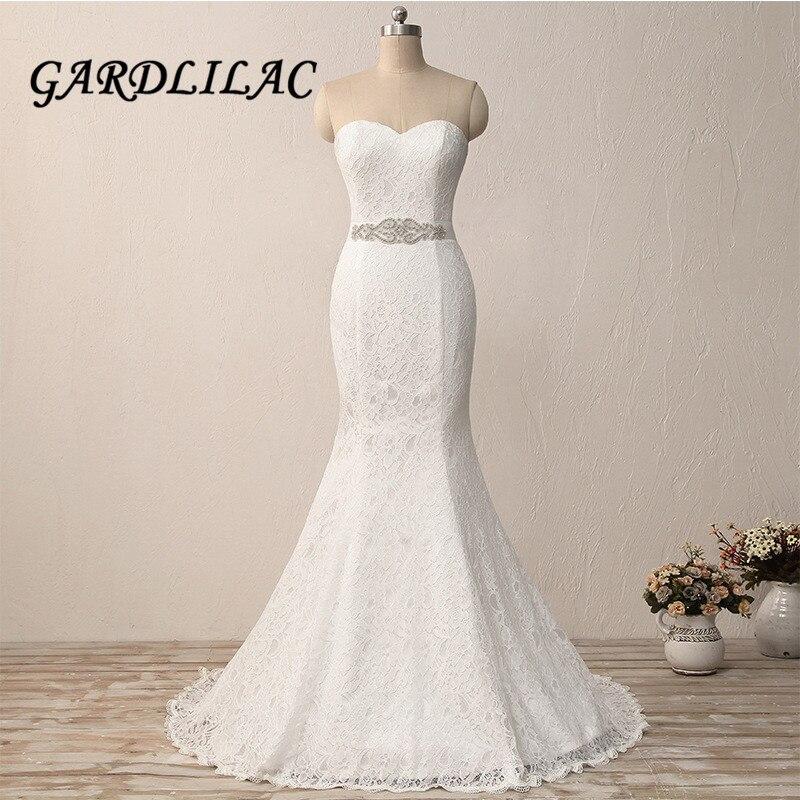 Hot Sale 2018 Lace Mermaid Wedding Dresses Bling Belt Women Plus