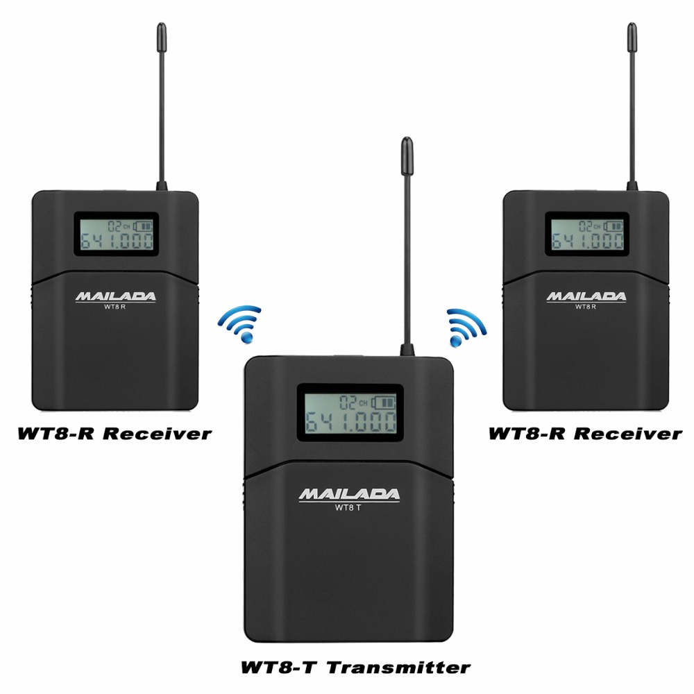 MAILADA WT8 UHF 638-648MHz 1 Transmitter+2 Receivers Wireless Headset Microphone Audio Tour Guide System Simultaneous Teaching 1 g27 wt g27 wt