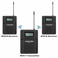 MAILADA WT8 UHF 638 648MHz 1 Transmitter+2 Receivers Wireless Headset Microphone Audio Tour Guide System Simultaneous Teaching