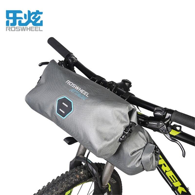 Roswheel ATTACK Bicycle Front Tube Bag 7-12L Waterproof Bike Handlebar Bag TPU Road Cycling Front Frame Bag Bike Accessories