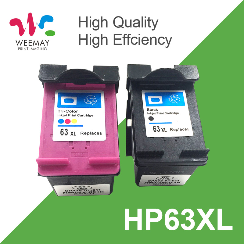 2 Pack 63XL Ink Cartridge Compatible for HP 63 XL CH561ZZ CB564Z 561 564 use for Deskjet 1110 1111 1112 2130 2131 2132 3630 4250