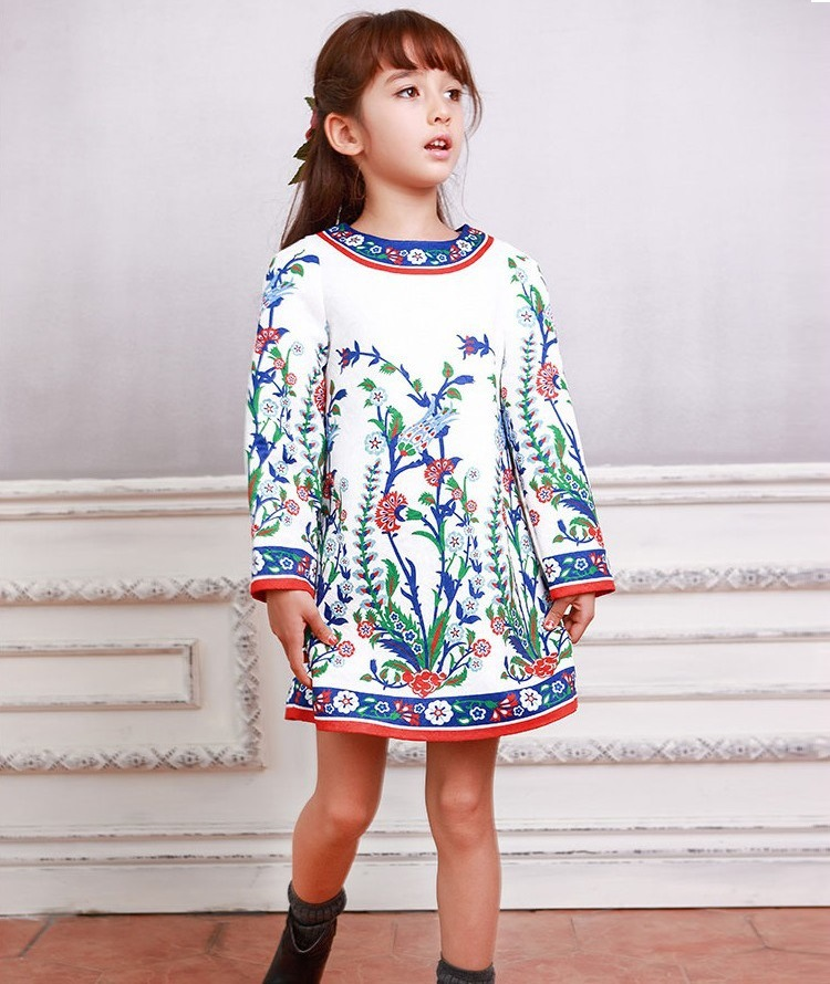 Baby Girls Dresses Winter 2017 Brand Kids Dresses for Girls Clothes Blue  Flower Girls Costumes Princess Dress Children girls dresses long sleeve 2017 spring brand kids dress for girls clothes baby infant animal flower princess costumes children