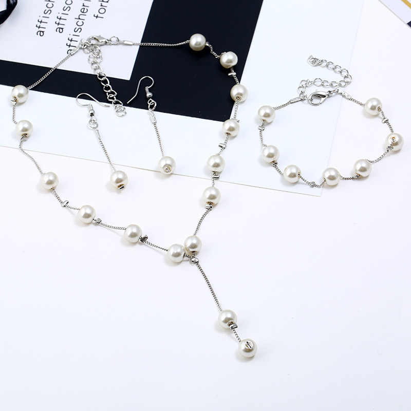 Europe and America hot imitation pearl jewelry set simulation pearl double layer ladies earrings necklace bracelet set N271