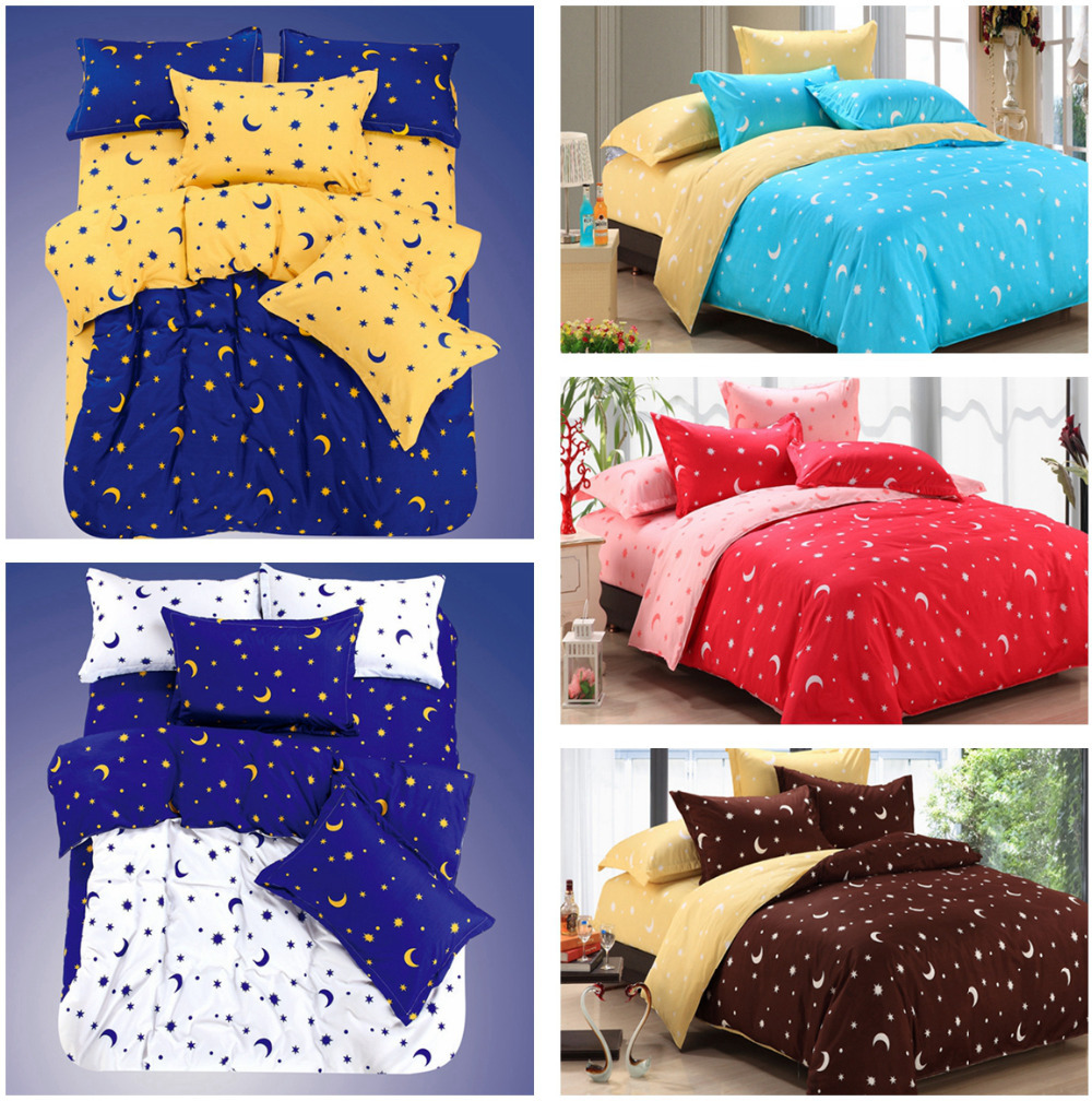 13 Kinds Of Print Moon And Star Bedding Sets Bedsheet Home Textiles King  Size 4PCS Duvet Cover Bed Sheet Pillowcase Bedclothes In Bedding Sets From  Home ...