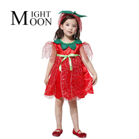 MOONIGHT Enfants Rouge Rose Fée Costume Tinkerbell Robe Partie De Costume De Mascarade Partie Costume + Bandeau